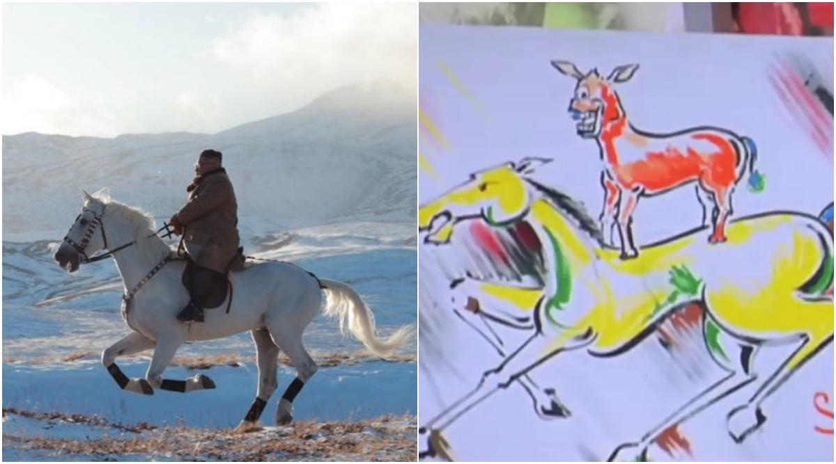Kim Jong-un Horse Riding Amidst Snow-Capped Mountains is Reminding People of Majnu Bhai and Game of Thrones; Check Funny Jokes and Memes