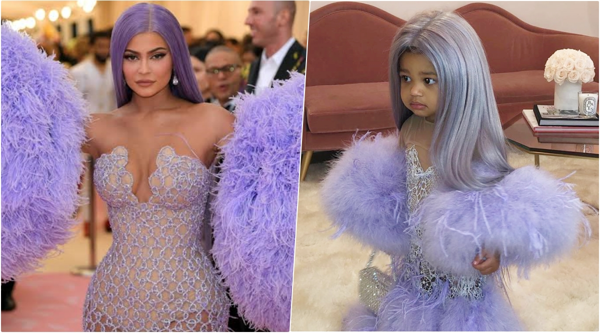 Kylie Jenner Dresses Stormi As Her Mini Self With Her With Outfit Inspired by Her Lilac Versace Dress at the Met Gala 2019