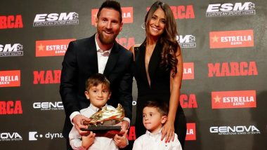 Lionel Messi's Sons Thiago and Mateo Present Him Sixth Golden Shoe For Scoring Most Goals in European Leagues, Barcelona Star Thanks Teammates in Instagram Post! (View Pics)