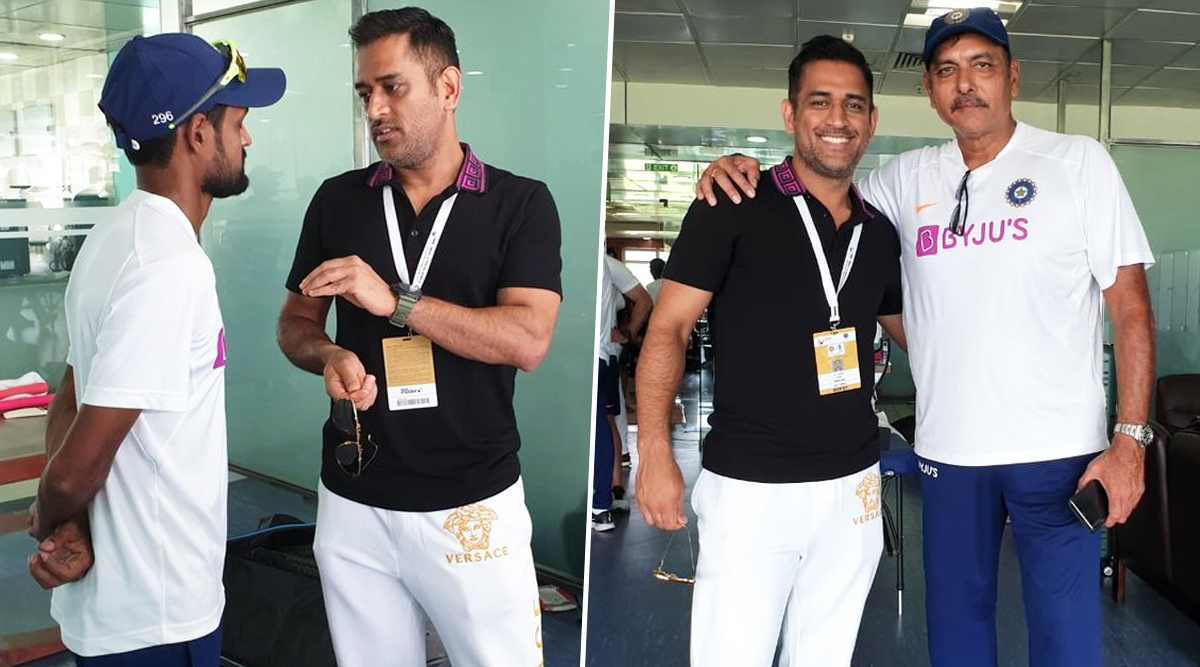 MS Dhoni Meets Shahbaz Nadeem, Ravi Shastri and Others in Team India Dressing Room Post Virat Kohli & Co.'s 3–0 Series Win Over South Africa; Netizens Excited on Seeing 'Thala'!