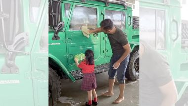 MS Dhoni and Daughter Ziva Clean His New SUV Jonga Together, Watch Adorable Instagram Video
