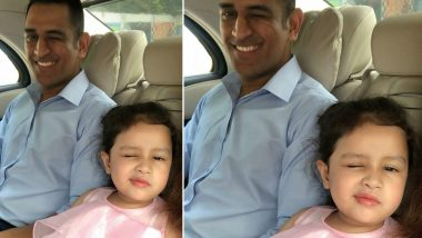 MS Dhoni and Ziva Wink at The Camera and We Cannot Stop Aww-ing! See Adorable Pic of Father-Daughter Duo on Instagram