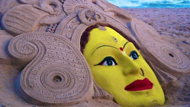 Durgashtami 2019 Greetings: Twitterati Share Maa Durga Sand Art by Sudarsan Pattnaik, Subho Maha Ashtami Wishes on Third Day of Durga Puja