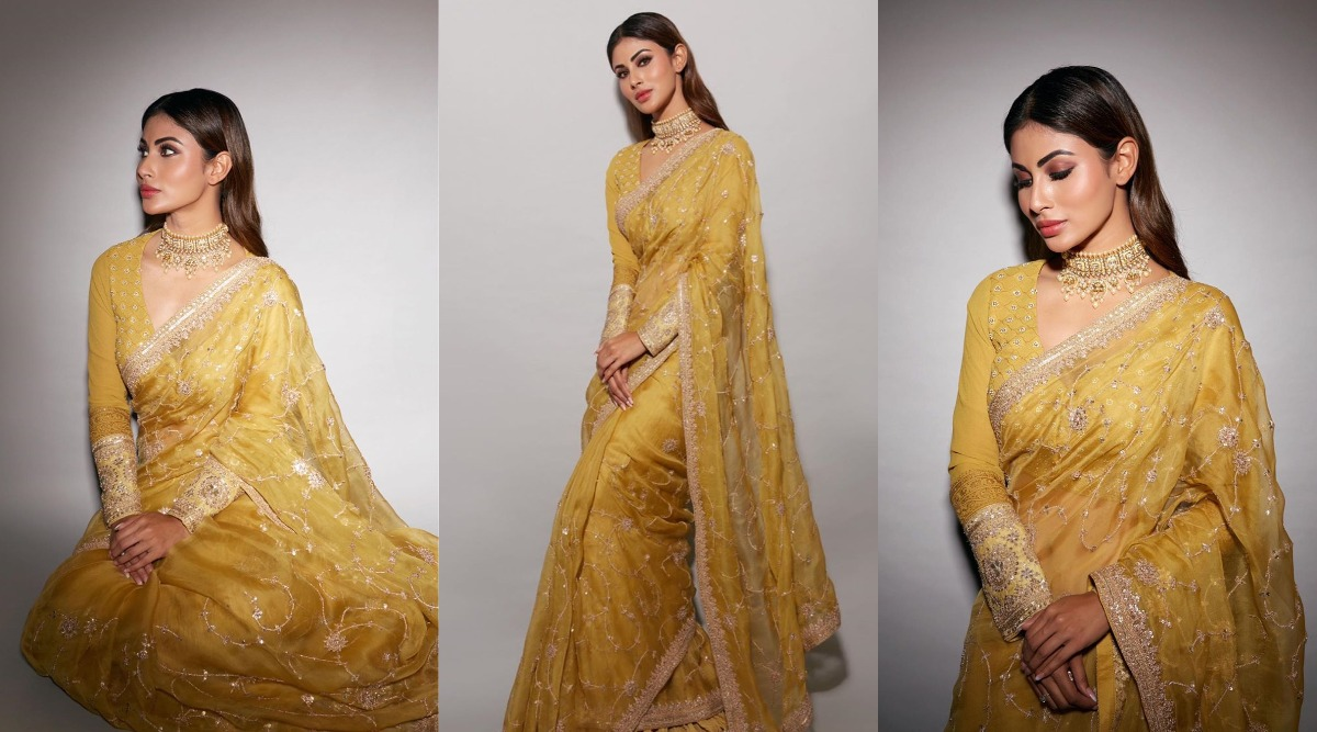 Mouni Roy Is Here To Teach You How To Look Sophisticated In A Saree For Lakshmi PujaIn Office!