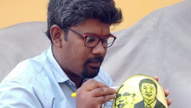 Narendra Modi-Xi  Jinping Informal Summit in Mamallapuram: Artiste Carves Images on Watermelon to Welcome Global Leaders