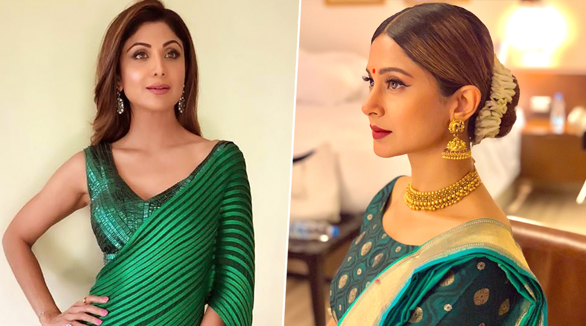 Navratri 2019 Day 9 Colour Peacock Green: Shilpa Shetty to Jennifer Winget, Here's How to Look Super Stylish During Pandal Hopping!