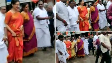 Nirmala Sitharaman Wades Through Waterlogged Street in Chennai During BJP Walkathon to Celebrate Mahatma Gandhi, Sardar Patel's Birth Anniversaries, Watch Video