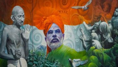 Painting of PM Narendra Modi And Mahatma Gandhi With Tricolour Background Fetches Highest Bid