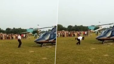 Pilot of Private Chopper Hit by Rotor Blade on Forehead in Faridabad, Watch Terrifying Video