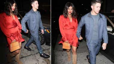 Priyanka Chopra Looks Sexy in Red as She Gets Snapped With Husband Nick Jonas (View Pics)