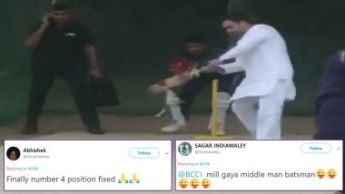 Rahul Gandhi Plays Cricket at Haryana's KLP College in Rewari, Twitterati Finds New No. 4 Batsman For Team India in Former Congress President!