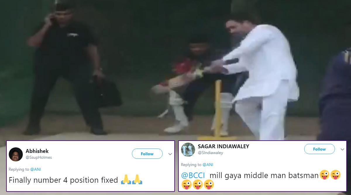 Rahul Gandhi Plays Cricket at Haryana's KLP College in Rewari, Twitterati Finds New No. 4 Batsman For Team India in Former Congress President!