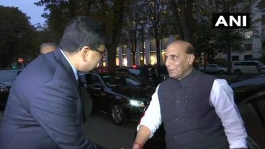 Rajnath Singh Arrives in France to Receive 1st Rafale Fighter Jet, Says Visit Aimed at Expanding Existing Partnership Between Both Countries