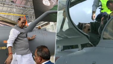 India Gets 1st Rafale Fighter: Rajnath Singh Performs Shastra Puja in France, Takes Sortie in Jet; Watch Video
