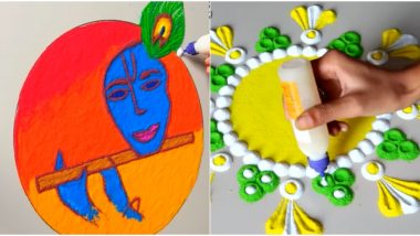 Simple Rangoli Designs for Govardhan Puja 2019: Beautiful Rangoli Patterns and Easy Tricks to Decorate Your House During Diwali Padwa