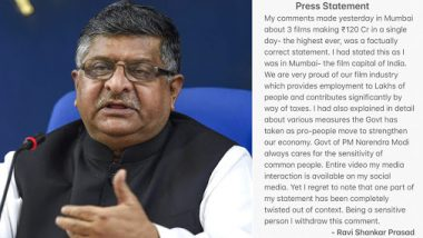 Ravi Shankar Prasad Withdraws His 'Movies & Economy' Comment After Facing Flak, Issues Press Statement With Clarification