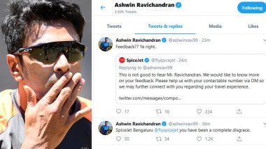 Ravichandran Ashwin Criticises Airline SpiceJet on Twitter After Vijay Hazare 2019–20 Final, Deletes Tweet Later