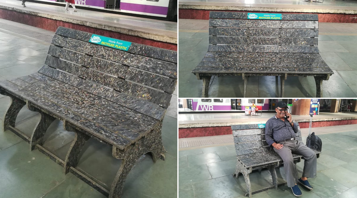 Churchgate Station in Mumbai Gets 3 Benches Made of Recycled Plastic as Indian Railways Goes Environment-Friendly