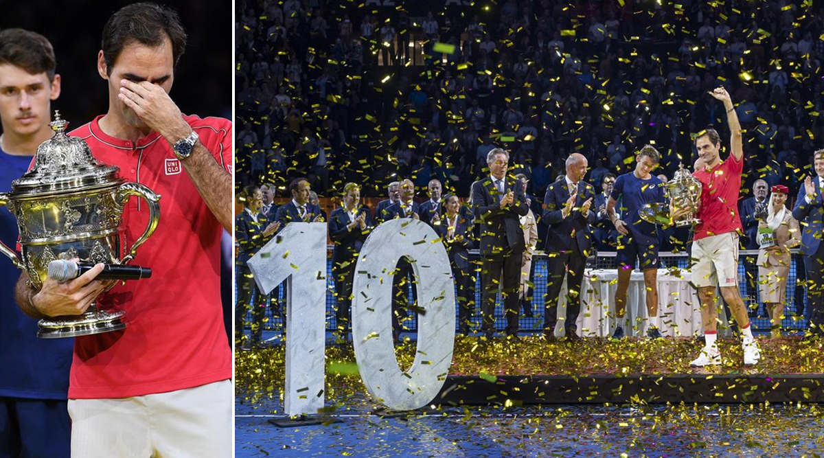 Roger Federer Struggles to Hold Tears After Crushing Alex De Minaur to Win Record 10th Swiss Indoors Basel Title (Watch Video)