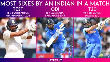 Most Sixes by Indian Cricketer in a Match: Rohit Sharma Owns This Fantastic Record in All Three Formats