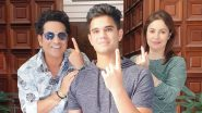 Sachin Tendulkar, Wife Anjali and Son Arjun Cast Their Vote in Maharashtra Assembly Elections 2019, Cricket Icon Urges Citizens to Vote As Well (View Pic)
