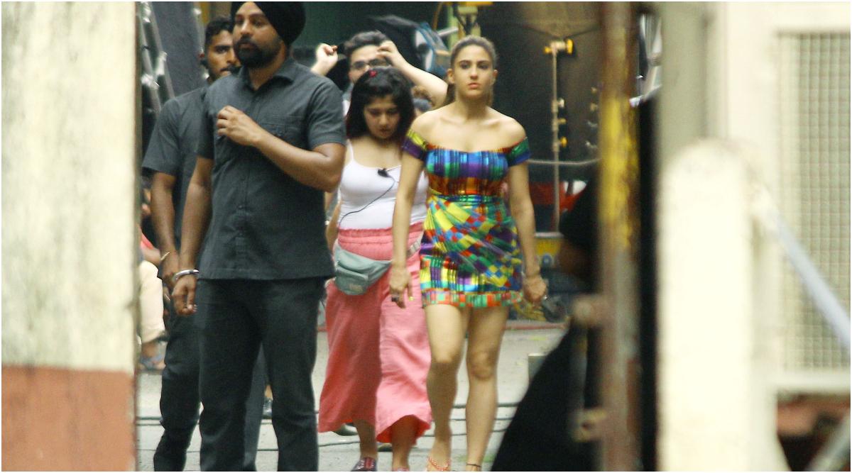 Sara Ali Khan on the sets of Coolie No 1