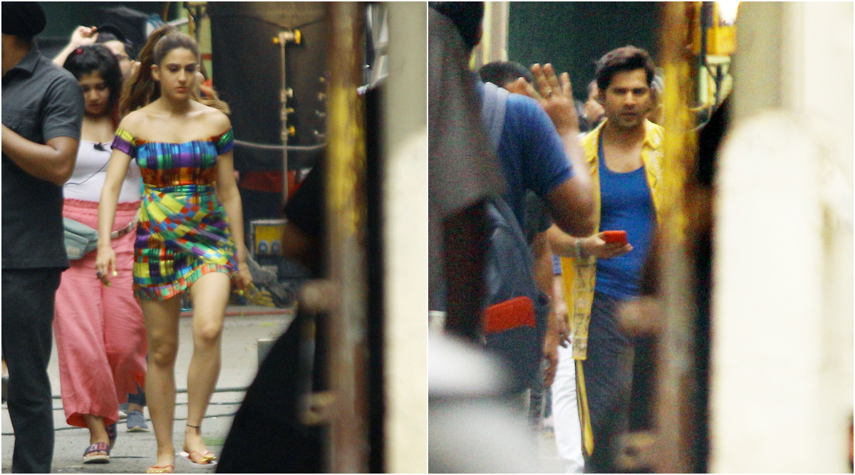 Coolie No 1: Sara Ali Khan and Varun Dhawan Spotted on the Sets of the Film and it is Their Colourful Outfits That Will Surely Grab Your Attention (View Pics)