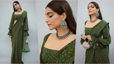Sonam Kapoor Ahuja's Floral Green Saree From House of Masaba Is the Perfect Inspo for Day 6 of Navratri 2019 (View Pics)