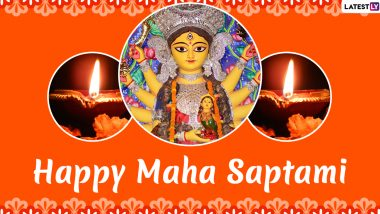 Subho Maha Saptami 2020 Images & HD Wallpapers for Free Download Online: Wish Happy Durga Puja in Bengali With Beautiful WhatsApp Stickers and GIF Greetings