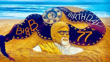 Sudarsan Pattnaik Creates Sand Art For Amitabh Bachchan's 77th Birthday on Odisha's Puri Beach, View Pic
