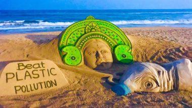 Durga Ashtami 2019: Green Sand Art of Maa Durga With A Message to Stop 'Demon' Plastic is Perfect Way to Celebrate Mahishasur Mardini Festival