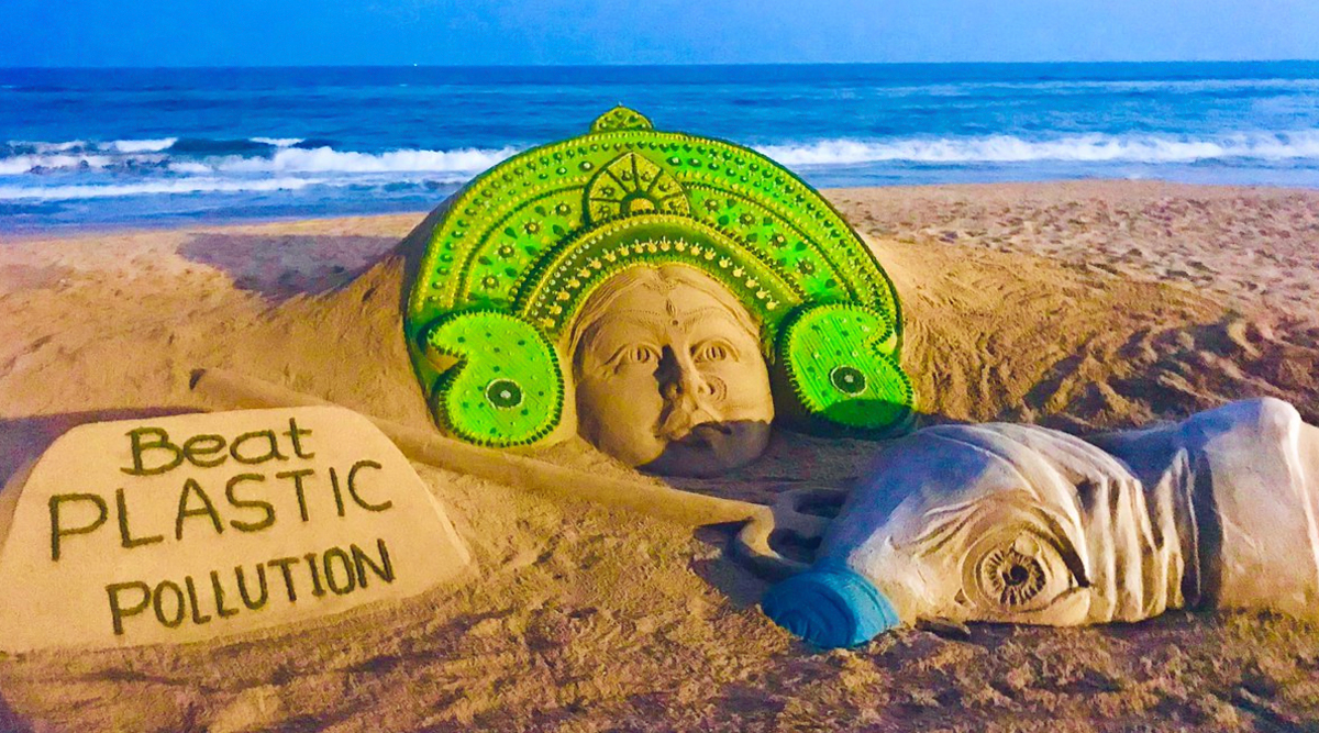 Durga Ashtami 2019: Green Sand Art of Maa Durga With A Message to Stop 'Demon' Plastic is Perfect Way to Celebrate Mahishasur Mardini Festival