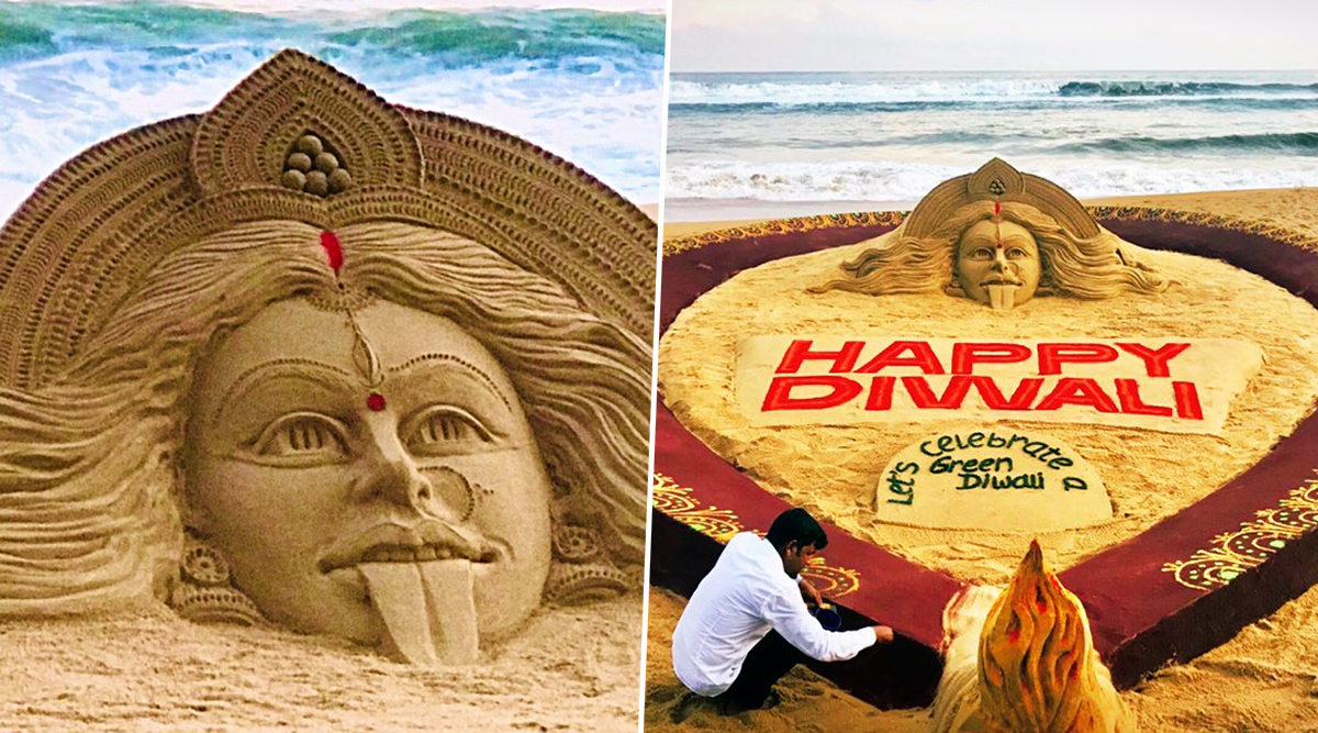 Happy Diwali And Kali Puja 2019 Images: Sudarsan Pattnaik Creates Goddess Kali Sand Art at Odisha Beach to Extend Festival Greetings