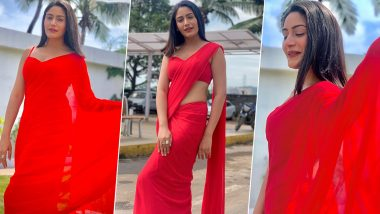 Yo Or Hell No! Surbhi Chandna in Plain Blood Red Saree Ahead of Diwali 2019