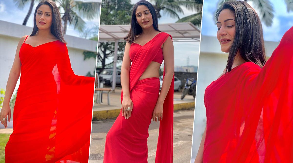 Yo Or Hell No! Surbhi Chandna in Plain Blood Red Saree Ahead of Diwali 2019