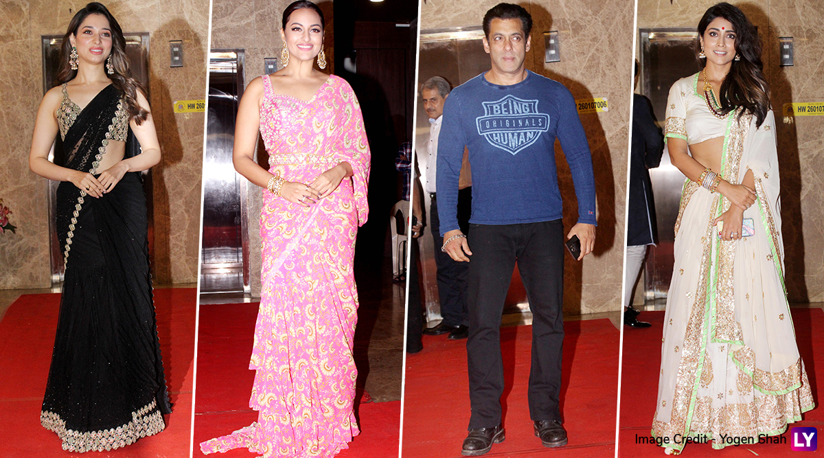 Dabangg 3 Stars Salman Khan-Sonakshi Sinha, Tamannaah, Shriya Saran and Others Attend Ramesh Taurani's 2019 Diwali Party (View Pics)