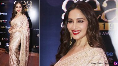 Madhuri Dixit Is the Epitome of Beauty in a Golden Embroidered Saree at Global Excellence Awards 2019 (See Pics)