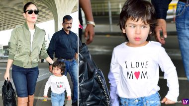 Taimur Ali Khan Looks Super Cute in Cowboy Boots With Mommy Kareena Kapoor at the Airport (View Pics)