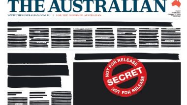 Australian Newspapers, Websites Run Redacted Front Pages and Online Articles to Protest Secrecy Laws