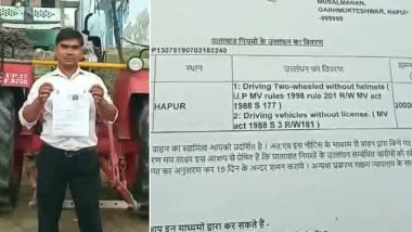 Uttar Pradesh: Tractor Driver Fined Rs 3,000 For Not Wearing Helmet, Traffic Incharge Calls it 'Typographical Error'