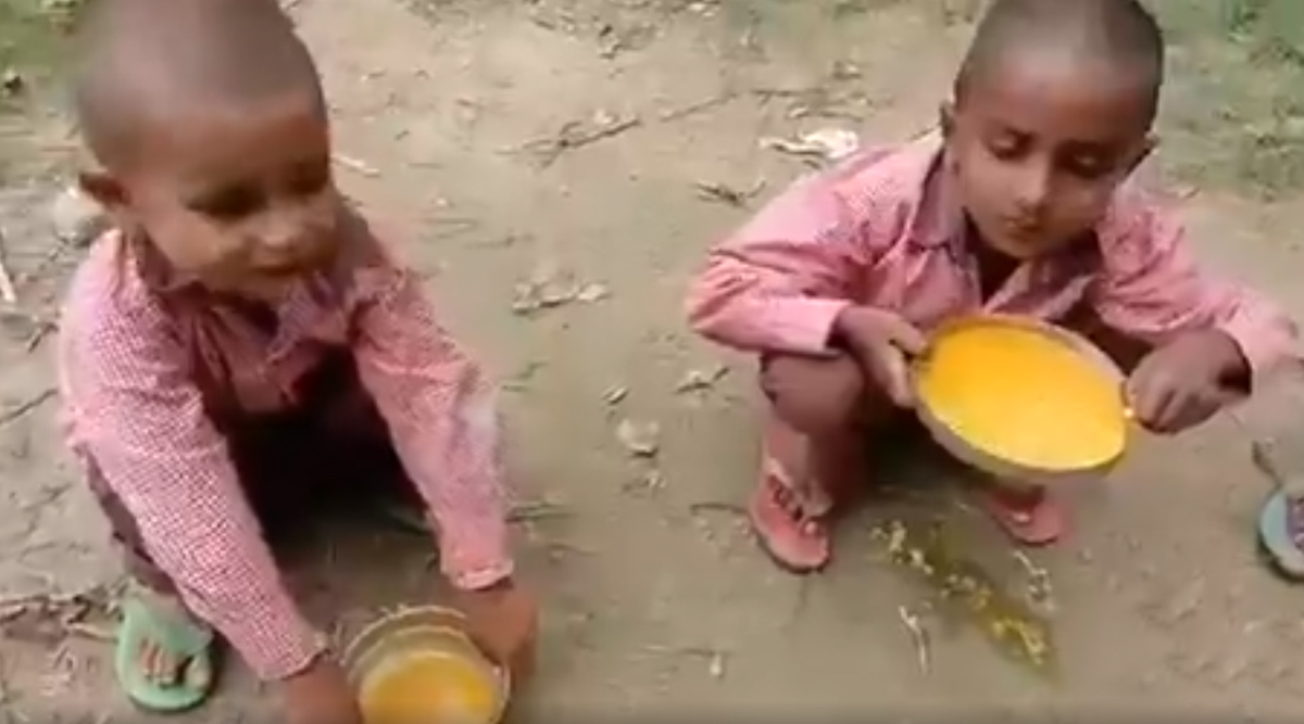 Turmeric-Rice For Meal? Video Shows School Children Fed Haldi-Chawal in Uttar Pradesh's Sitapur, Netizens Ask if 'Journalist Will be Arrested?'