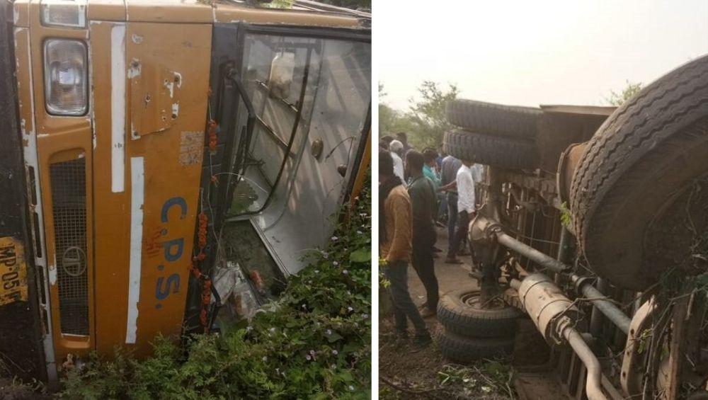 Madhya Pradesh Accident: 5 Children Injured as School Bus Overturns in Hoshangabad