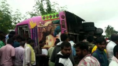 Karnataka Bus Accident: 5 Dead, 15 Injured as Bus Overturns Near Koratagere in Tumkur