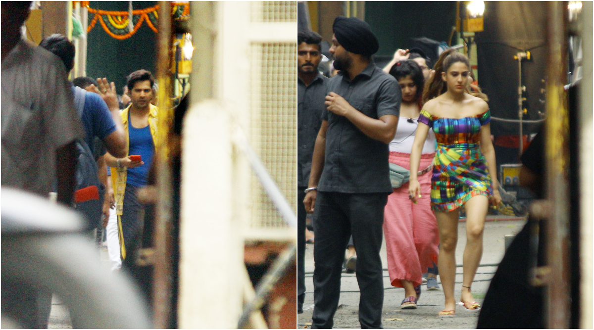 Varun Dhawan and Sara Ali Khan on the Sets of Coolie No 1