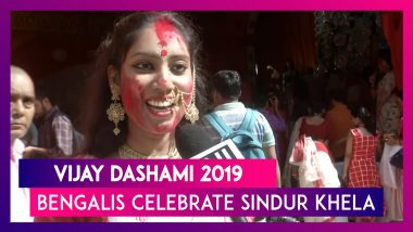 Vijaya Dashami 2019: Women Participate In 'Sindur Khela' At Delhi's CR Park Pujo Pandal