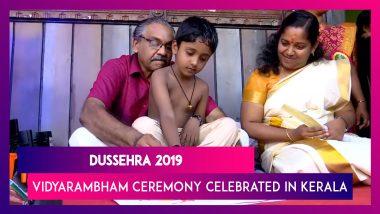 Vidyarambham' Ceremony Celebrated On Occasion Of Vijaya Dashami In Thiruvananthapuram