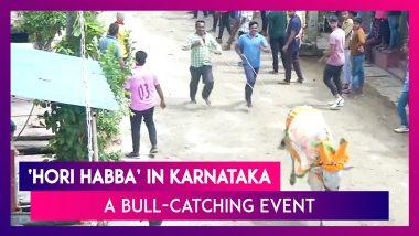 Karnataka: Locals Gather To Witness 'Hori Habba', A Bull-Catching Event In Shivamogga