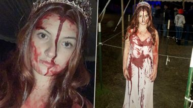Woman Crashes Car Wearing Bloody Halloween 'Carrie' Costume, First Responder Presumes Her to Be Dead (View Viral Pics)