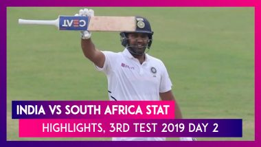 India vs South Africa Stat Highlights, 3rd Test 2019 Day 2: Rohit Sharma Hits Double Ton, SA 9/2