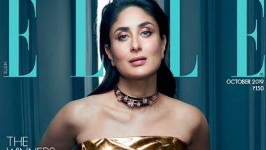 Kareena Kapoor Khan Looks Radiant as She Dazzles in a Gold Outfit on Elle India's October Cover (View Pic)